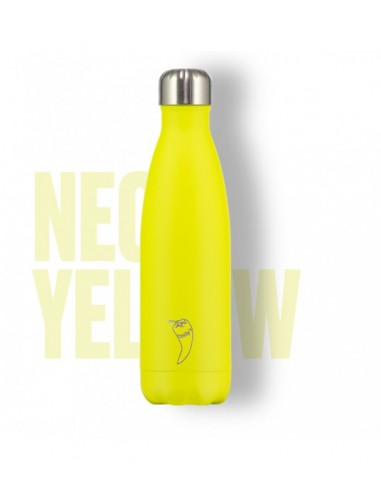 botella termo amarilla neon chilly